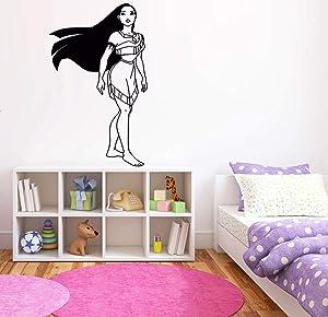 Princess Pocahontas Wall Decal   Pocahontas Wall Decor   Cartoon Wall Sticker   Wall Decor for Girls Bedroom DP47