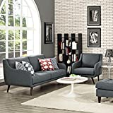 Modern Contemporary Urban Design Living Lounge Room Sofa Set ( Set of Two), Grey Gray, Fabric