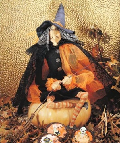 Joe Spencer Gathered Traditions Gerty Fabric Witch Figure Halloween Decoration