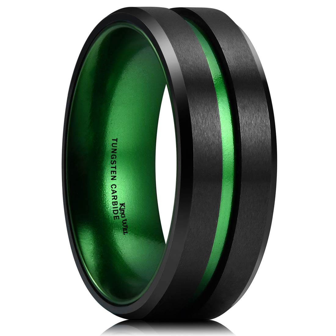 King Will Duo 8mm Mens Green Plated Black Tungsten Carbide Wedding Ring Grooved Center Matte Finish(7.5)