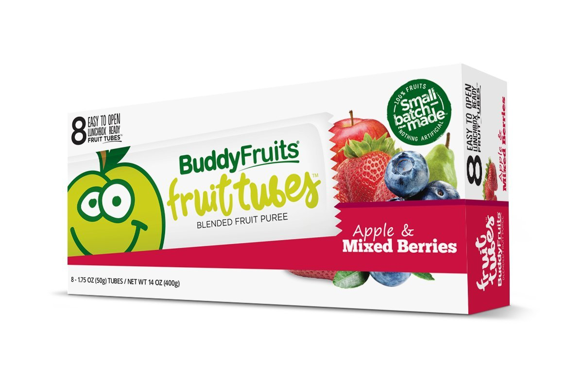 Buddy Fruits Fruit Tubes, Apple & Mixed Berries, 1.75 Fluid Ounce (Pack of 48)