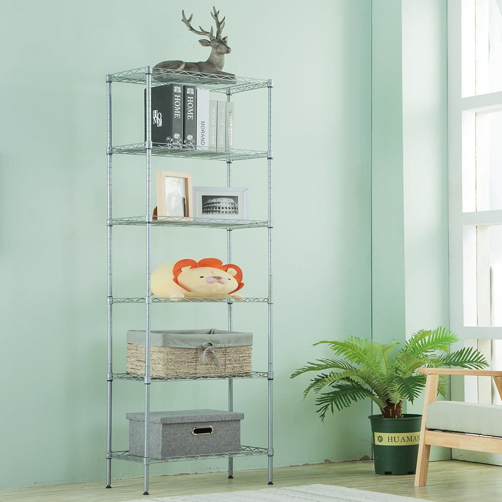 Amazon.com: LANGRIA 6 Tier Wire Shelving Unit Organization and ...