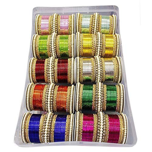 MUCH-MORE Glamorous Bollywood Fashion Indian Bangles Box Multi Color Party wear Bangles Jewelry (83, 2.8) by MUCH-MORE (Image #2)