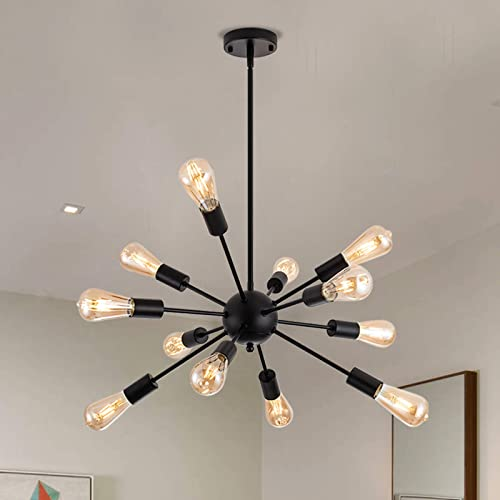 12 Lights Matte Black Sputnik Chandeliers Vintage Pendant Light Fixtures Industrial Mid Century Ceiling Light Fixture