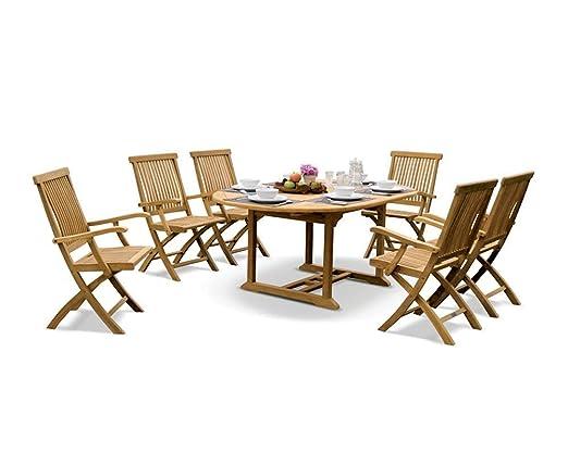 Tavolo Con 6 Sedie In Legno.Teak Outdoor Set Da Pranzo In Legno Con Estensione Tavolo E 6