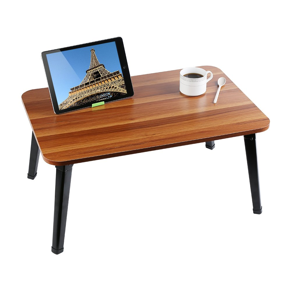 HOME BI Laptop Table for Bed, 23.7''x15.8''x11.3''(Large Size), Multifunction Lap Desk with Foldable Legs and Portable Size, Fit for 17'' Laptop or Smaller (Brown)
