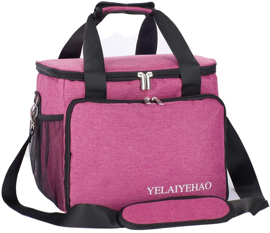 YELAIYEHAO Medical Bag,Clinical Bag with Inner Dividers, for Home Visits, Health Care, Doctors Bag (Medium, Pink)