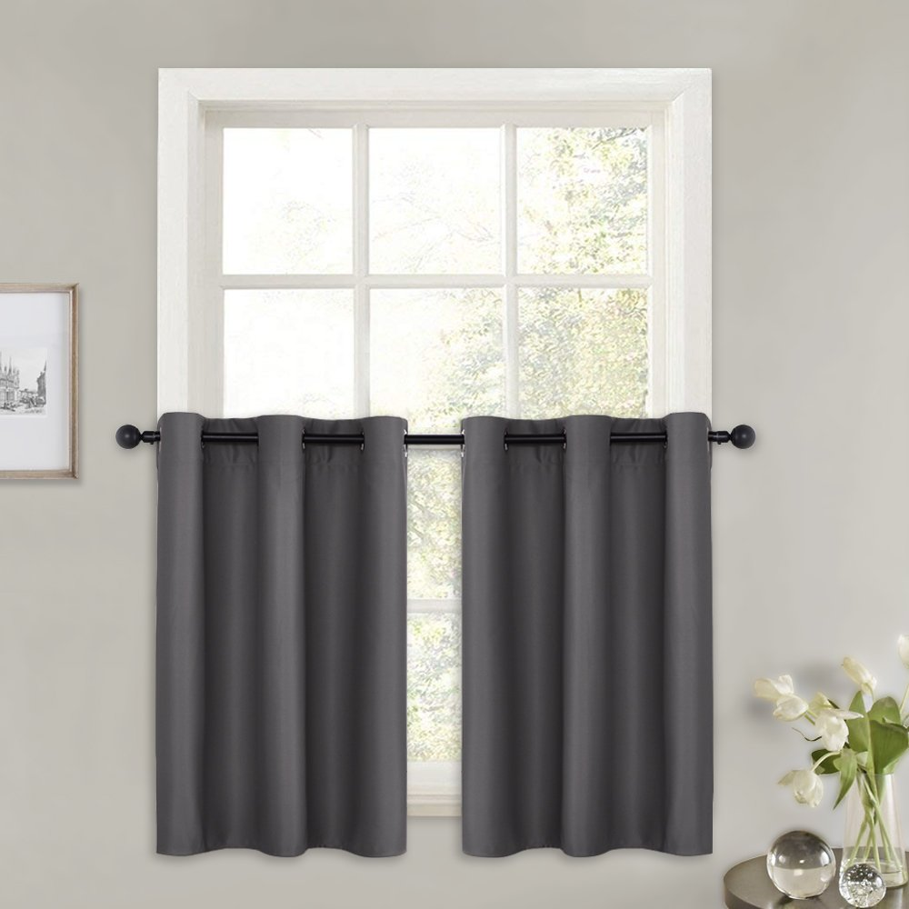 """PONY DANCE Kitchen Window Valances - Blackout Curtains Tiers Solid Microfiber Short Curtains Panels Thermal Insulated Basement Window Blinds, 42"""" W x 36"""" L, Grey, Set of 2"""