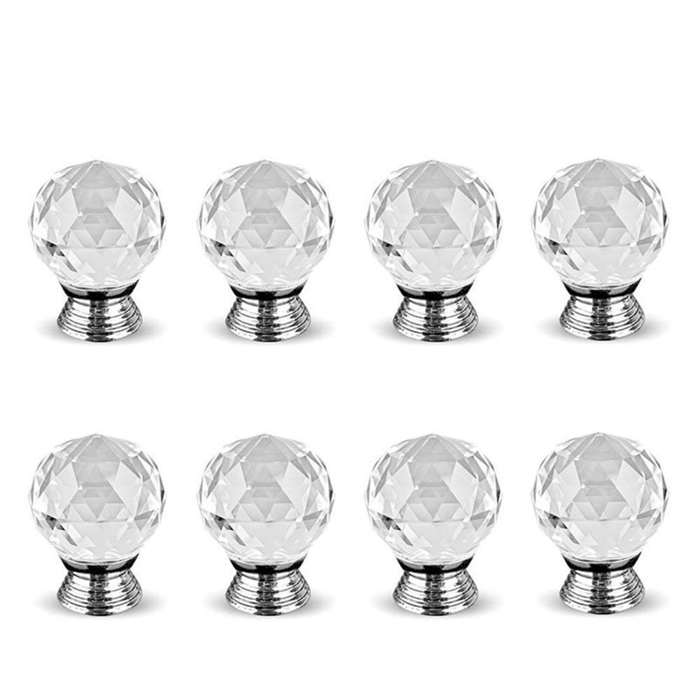 12pcs Crystal Glass Door Knobs Clear Diamond Pull Handle with Screw Dia 35mm for Drawer Cabinet Furniture Kitchen Home Decorating Super Junior