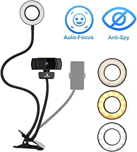 1080P Webcam Kit with Microphone, 3.5 Inch Selfie Ring Light, Mount Stand, and Privacy Cover, 360 Degrees Flexible Arms, for Streaming Online Class, Zoom Skype MS Teams, PC Mac Laptop Desktop