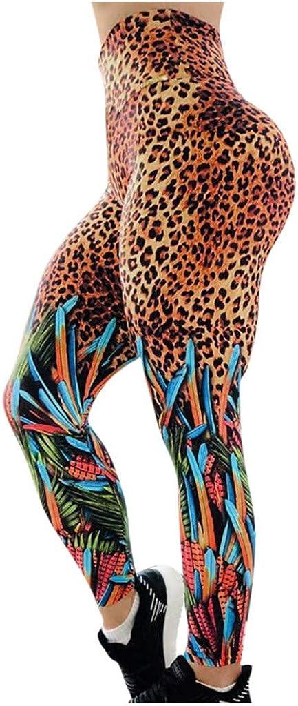 BELLA HXR Leggins Sportivi Lungo Donna Stampa Leopardo,Allenamento Leggings Opaco Pantaloni Yoga Fitness Palestra Donna Brasiliana
