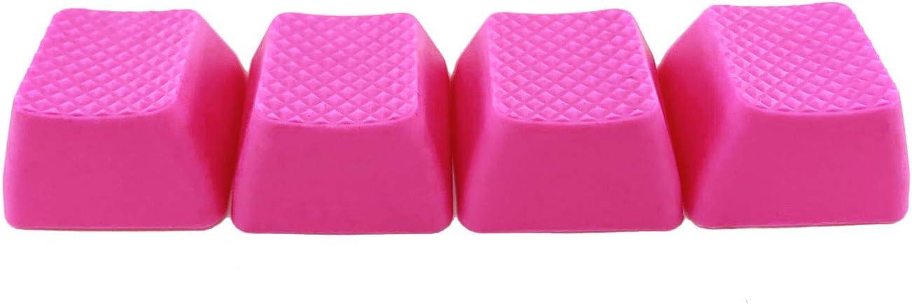 Big Chic Juego de 4 llaves de goma TPR en blanco para teclados mecánicos Cherry MX compatible OEM (R1, rosa neón)