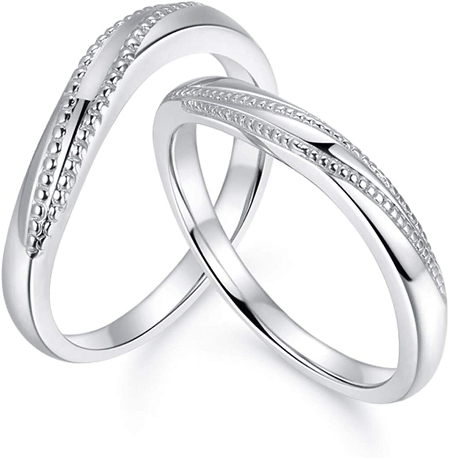 This is a photo of Aienid Platinum His and Her Rings Promise Ring Rivet Wedding Bands