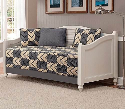 Fancy Collection 5pc DayBed Quilted Bedspread Coverlet Set Checkered Zig Zag Dark Gray/Charcoal Taupe New