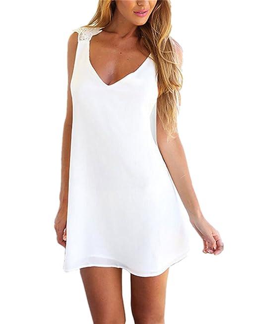 Kidslove Sommerkleid Damen Elegant Damen Strandkleid Armellos Kleid