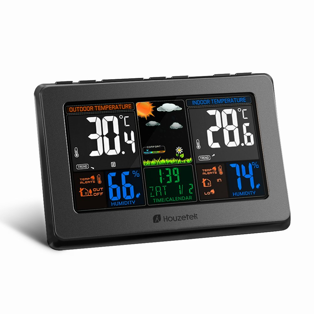 Wireless Weather Station, Houzetek Indoor Outdoor Thermometer Color Home Alarm Clock with Temperature and Humidity Monitor, Large Display Digital Tabletop Hygrometer Outdoor Sensor, USB Port