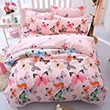 RuiHome 4 Pieces Reversible Duvet Cover Set Kids Girls Butterfly Bedding for Bedroom College Dorm, Twin Size