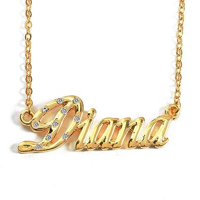 9b2fe95bc308f Amazon.com: Zacria Name Necklace Diana - 18K Yellow Gold Plated: Jewelry