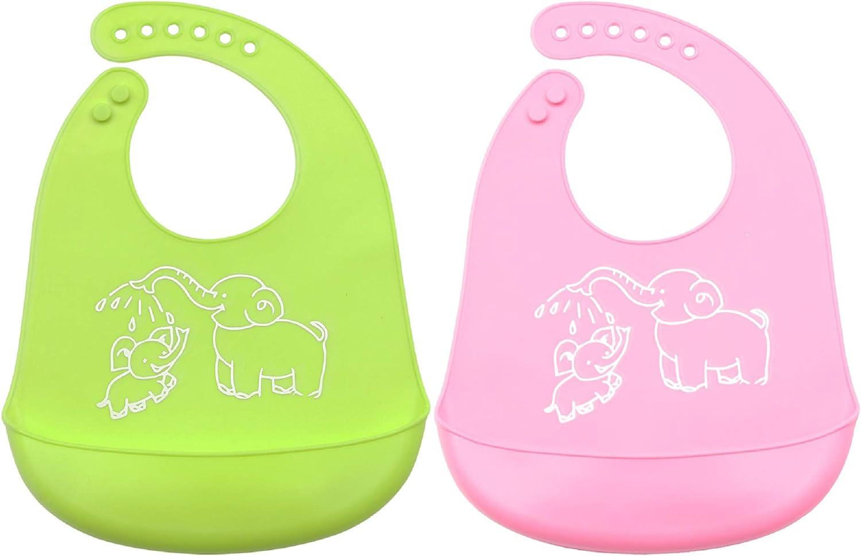 Pack de 2 Baberos de Silicona Beb/és Ni/ños Impermeable Para 0-6 a/ños Infantiles C/ómodo,Con Grande Bolsillo para Recoger Comida Evitan manchas Fac/íl Limpiar Azul//Verde