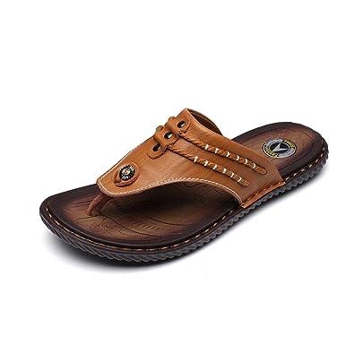 Hommes Couture Main Pantoufles De Plage Orteil Clip Doux Sandales En Cuir Imperméable fTP3lsAnzc