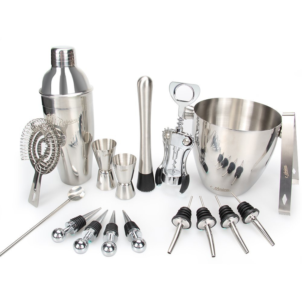 Bar Set, 17 Pieces Bartender Kit Cocktail Bar Set Stainless Steel Cocktail Set includes 24oz Martini Cocktail Shaker, 50oz Ice Bucket, Double Size Jiggers and other Essential Bartending Bar Tools NOSIVA