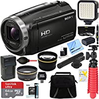 Sony HDR-CX675/B Full HD Handycam Camcorder with Exmor R CMOS Sensor + MIC-403 Mini Zoom Microphone + 64GB MicroSDXC Accessory Bundle