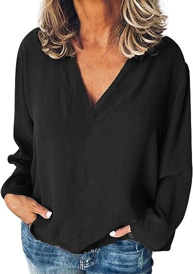 Camiseta con Cuello en V Color Lisas para Mujer Blusa Casual de Manga Larga túnica Camisa Suelta Tops Negro XL: Amazon.es: Ropa y accesorios
