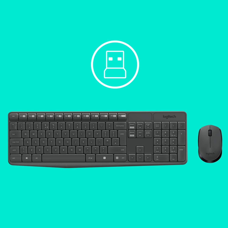 Logitech MK235 Combo Teclado y Ratón para Windows, 2.4 GHz con Receptor USB Unifying, Ratón Inalámbrico, 15 Teclas con Función, Batería de 3 Años, PC, ...