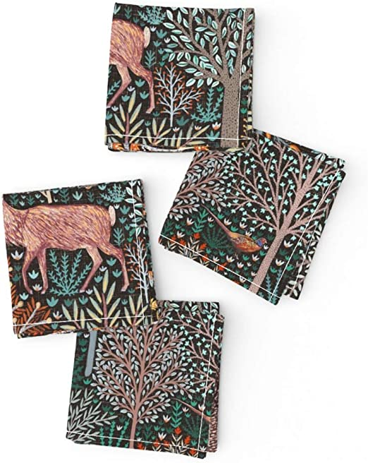 Forest Animals Woodland Autumn Linen Cotton Tea Towels by Roostery Set of 2