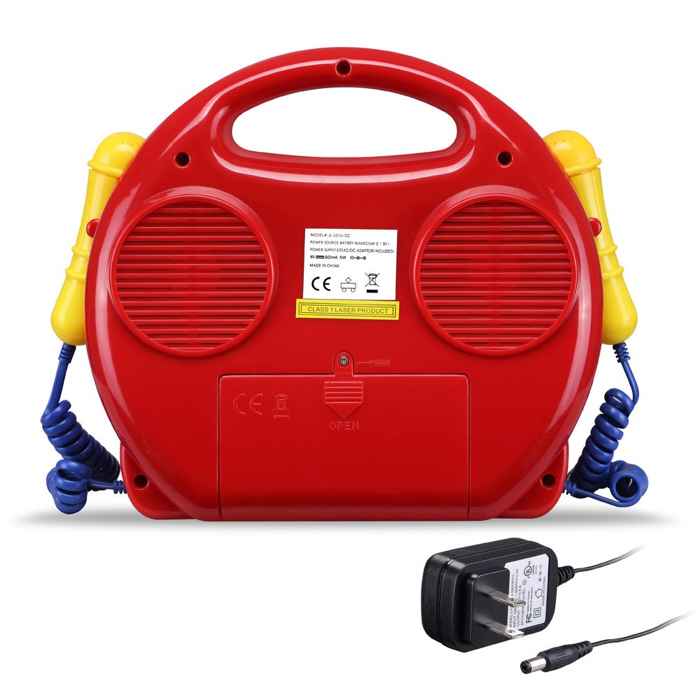 CD/USB/SD Portable Sing Along CD Player with 2 Microphones Anti Skip Protection LCD Display by O.Y.M (Image #2)
