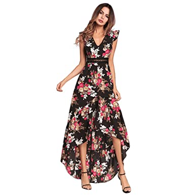 7b18c59a53c9 ZOLLOR Womens Casual Sleeveless Bodycon Long Summer Dress,Floral Printed  Sexy Backless High Low Tunic