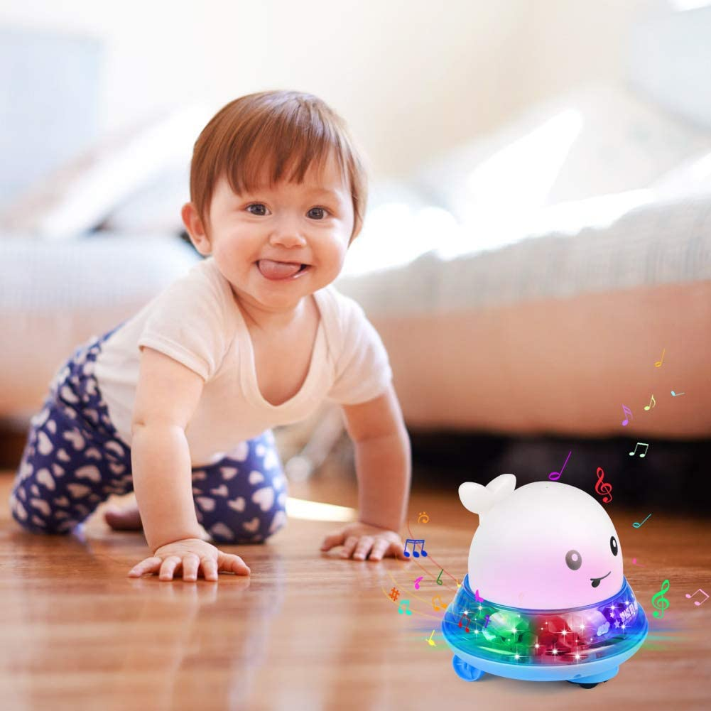 White Sprinkler Bath Fun Toys with Music and Flashing Lights Bathtime Play Ball Toys for Infant Childrens Toddlers Boys Girls Sinoeem Bath Toys 2 in 1 Electric Induction Whale Water Spray Toy