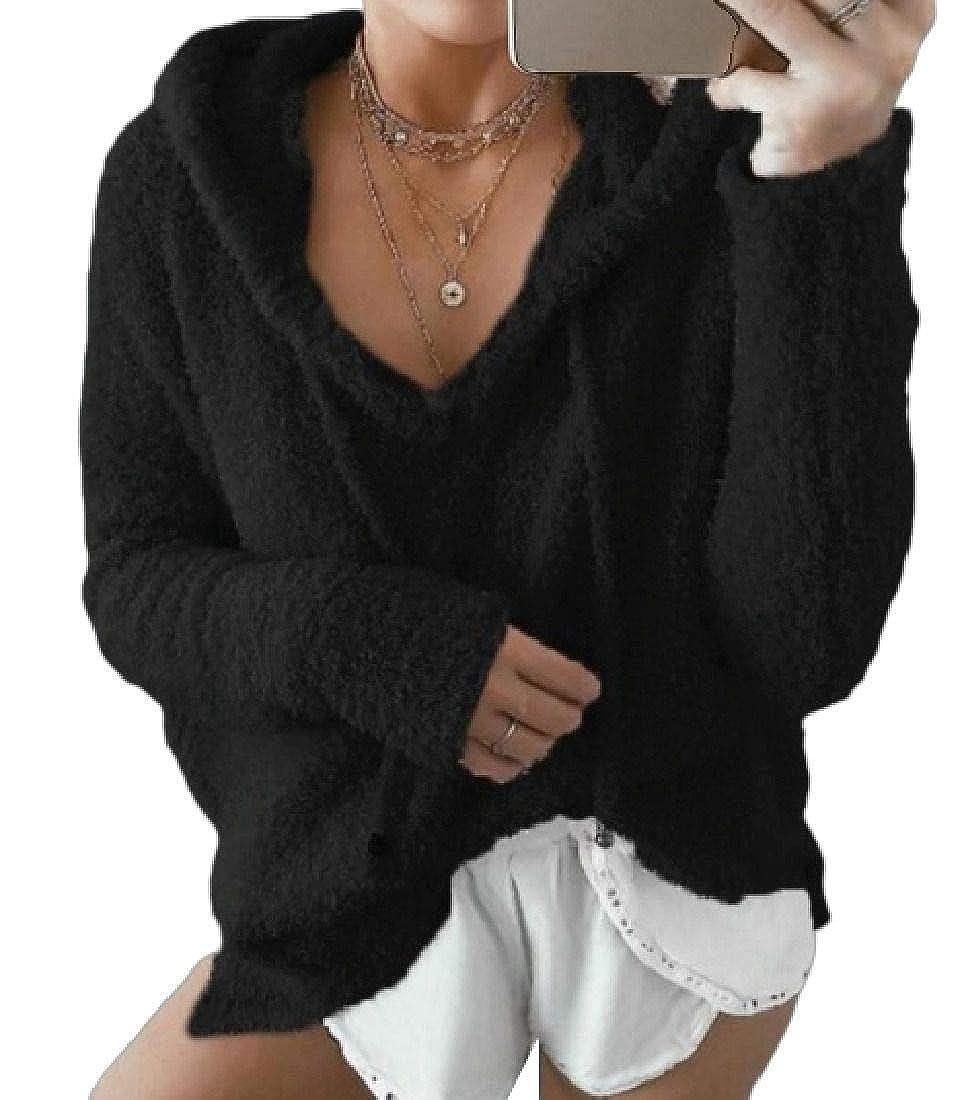 Frieed Womens Fuzzy Fleece Drawstring Casual Hoodie Pullover Sweatshirt