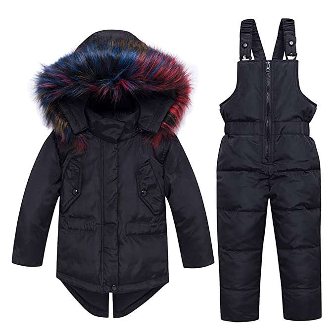 LSHEL Baby Snow Jacket Unisex Baby Toddler Winter Snowsuit Cartoon Ski Snowpants Down Coat Hooded Puffer Jacket 2 Piece Set Outfit