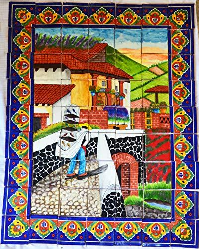 COLOR Y TRADICIÓN Mexican Talavera Mosaic Mural Tile Handmade Man Selling Birds Backsplash # 06 ()