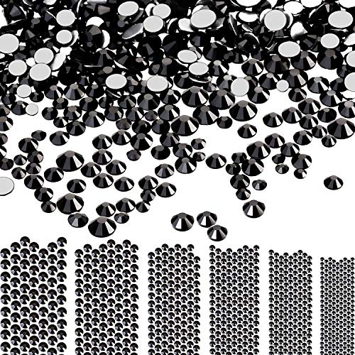 - Bememo 3456 Pieces Nail Crystals AB Nail Art Rhinestones Round Beads Flatback Glass Charms Gems Stones, 6 Sizes for Nails Decoration Makeup Clothes Shoes (Black, Mixed SS4 5 6 8 10 12)