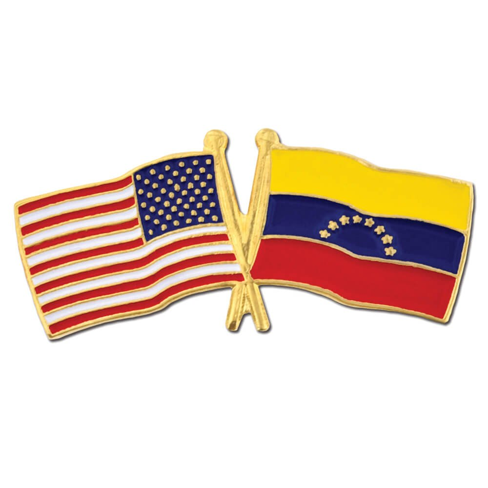 PinMart's USA and Venezuela Crossed Friendship Flag Enamel Lapel Pin by PinMart