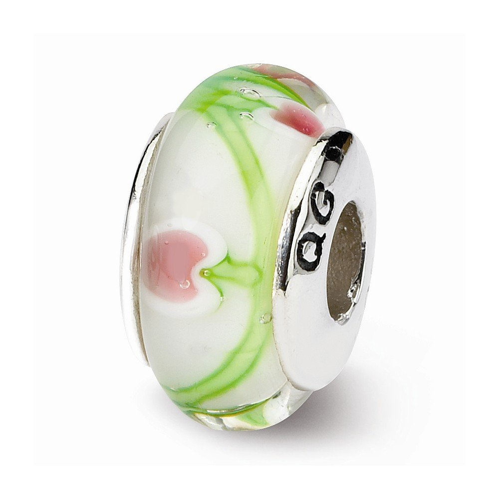 Sterling Silver s White//pink//green Hand-blown Glass Bead by Reflection Beads