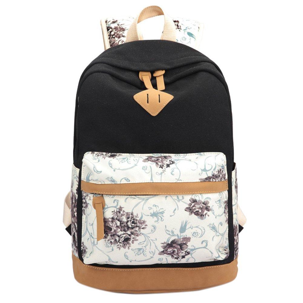 Korean Style Women's Lovely Colorful Flower Print Canvas Backpack lightweight School Bag for Teenage Girl