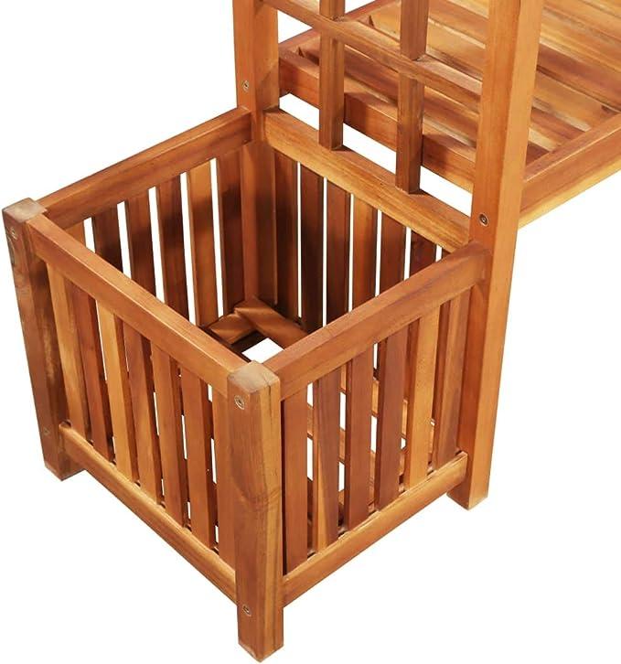 Accewit - Pérgola de jardín con banco y jardinera, madera de acacia maciza: Amazon.es: Hogar