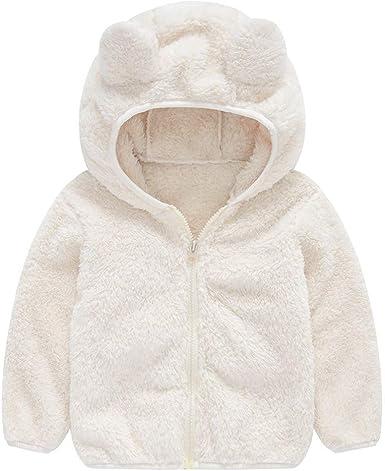 BaZhaHei Veste Uni Polaire Bébé Fille Garçons Automne Hiver Ours Oreille Hooded Manteau Gilet Épais Peluche Chaud Vêtements 1 4 Ans