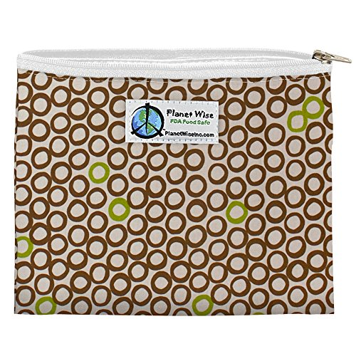 Planet Wise Reusable Zipper Sandwich and Snack Bags, Sandwich, Lime Cocoa Bean