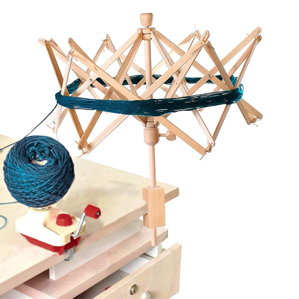 Umbrella Swift Yarn Winder, Wooden (Birch) Hand Operated Bobbin Winder Holder Knitting Tool for Wool String 1 Pack by Wei Xi (Image #4)