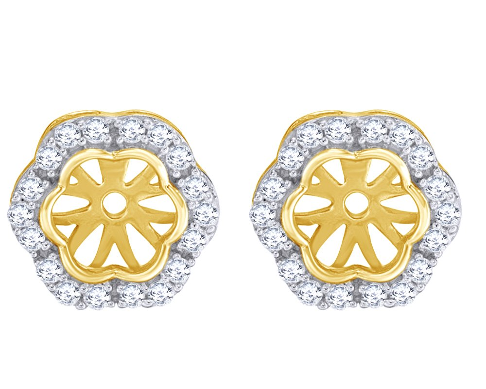 Round Cut White Natural Diamond Flower Frame Earring Jackets in 10K Solid Yellow Gold (0.33 Cttw) by Wishrocks