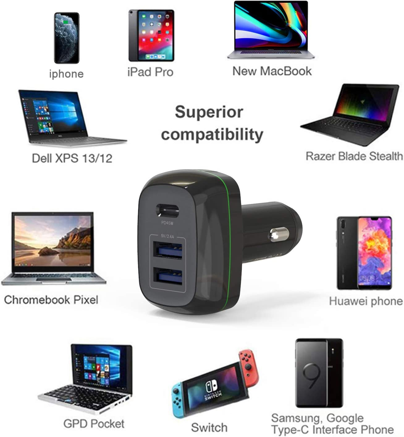 3-Port Car Charger with 45W PD Port /& 2 USB A,Compatible with MacBook pro//Air iPad Pro//Air 2//Mini,Note 5//4,LG Xs//Max//XR//X//8//7 and More Runpower Car Charger USB C