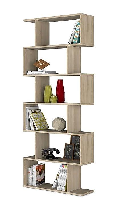 Habitdesign 301011F - Estanteria Athena Alta, libreria Abierta Salon, 80 x 25 x 192 cm de Altura (Roble Candian)