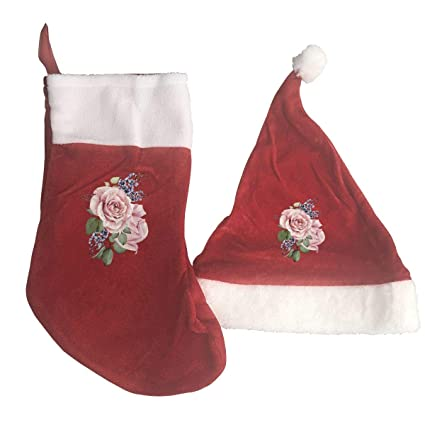 109123312a498 Image Unavailable. Image not available for. Color  steamship n Hand-Painted  Watercolor Flower Christmas Stockings Santa Hat ...