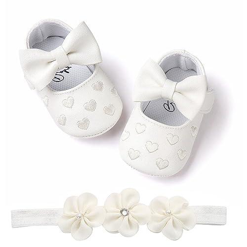 Zapatos Bebe BBsmile Recién Nacido Bebe Niñas Zapatos de Encaje Y BowknotDiadema de Brillante para Bautismo