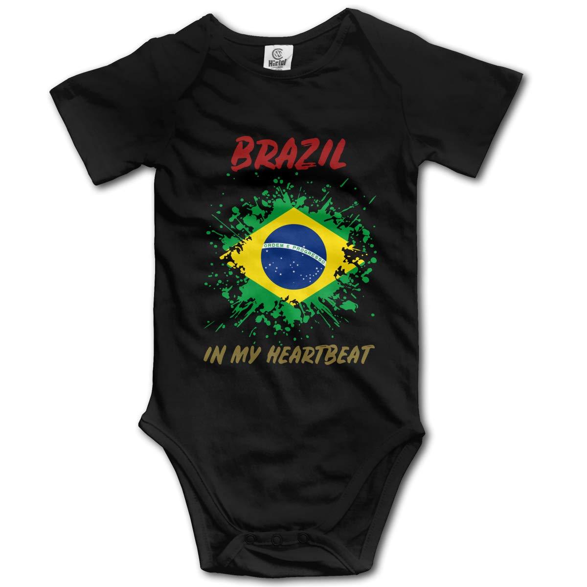 Brazil in My Heartbeat Unisex Solid Baby 100/% Organic Cotton Layette Bodysuit 0-2T
