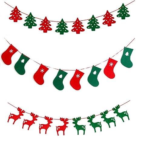 Fancyus Guirnalda con árboles,, Calcetines de Renos para el árbol de Navidad, decoración